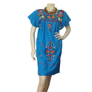 Mexican blue embroidered tunic dress.